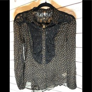 Free People Lace Button Down Blouse